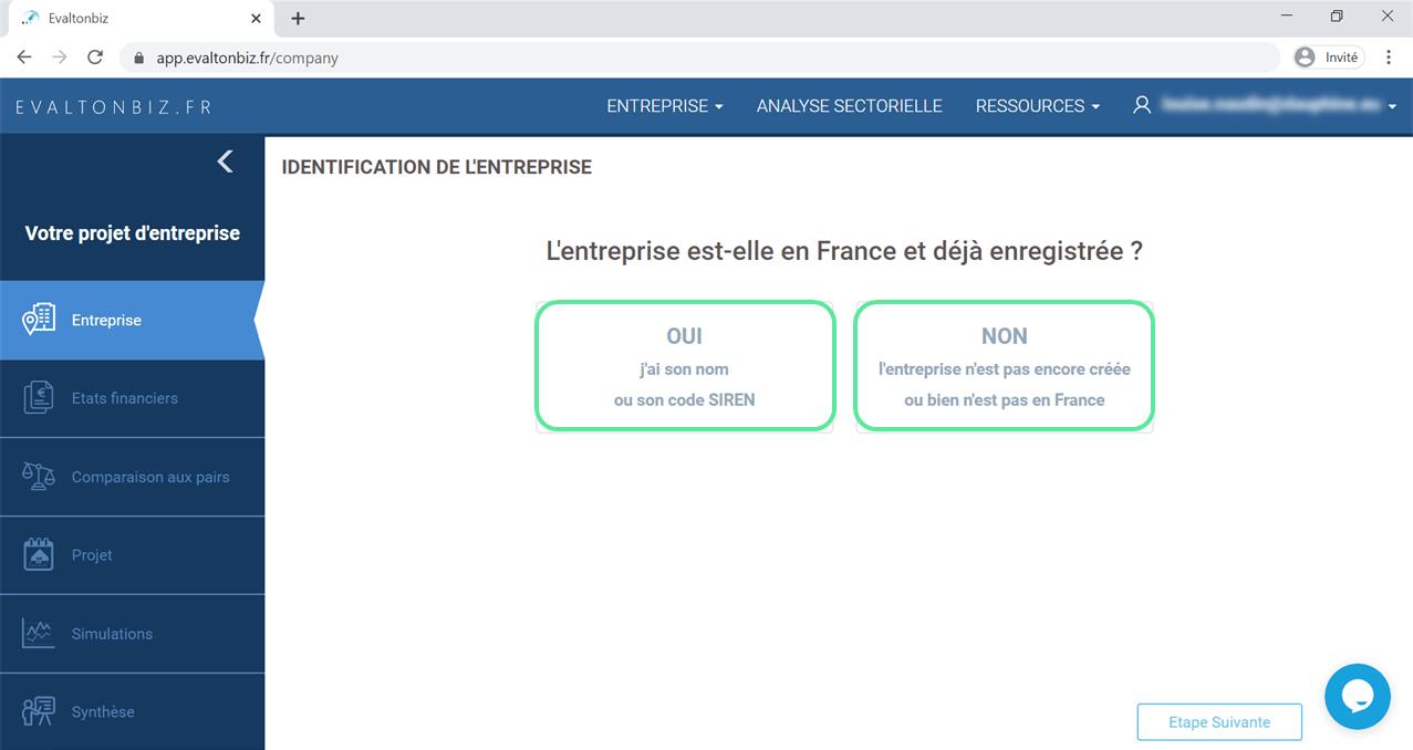interface volet Entreprise
