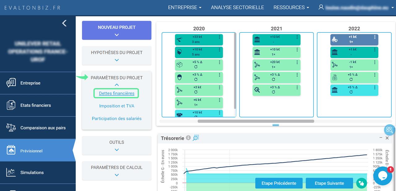 interface prévisionnel dettes financières