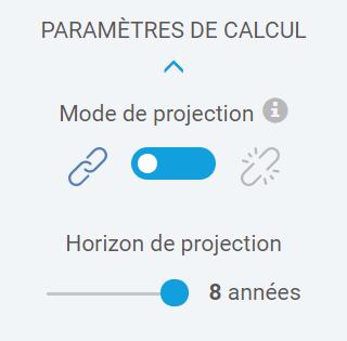 interface des paramètres de calcul