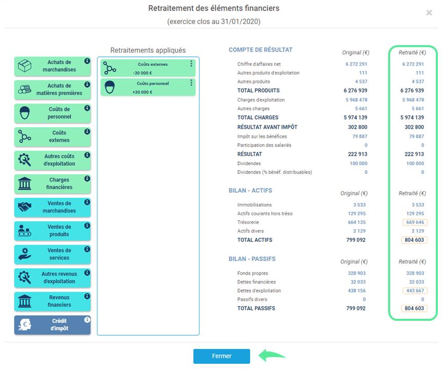 interface après saisie des retraitements liasses fiscale