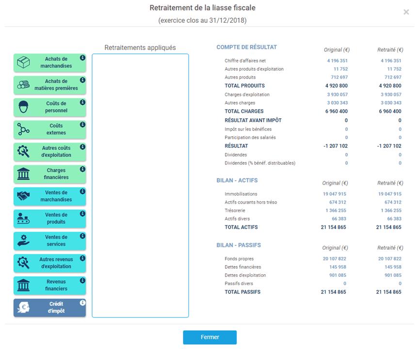 interface de saisie des retraitements de liasse fiscale