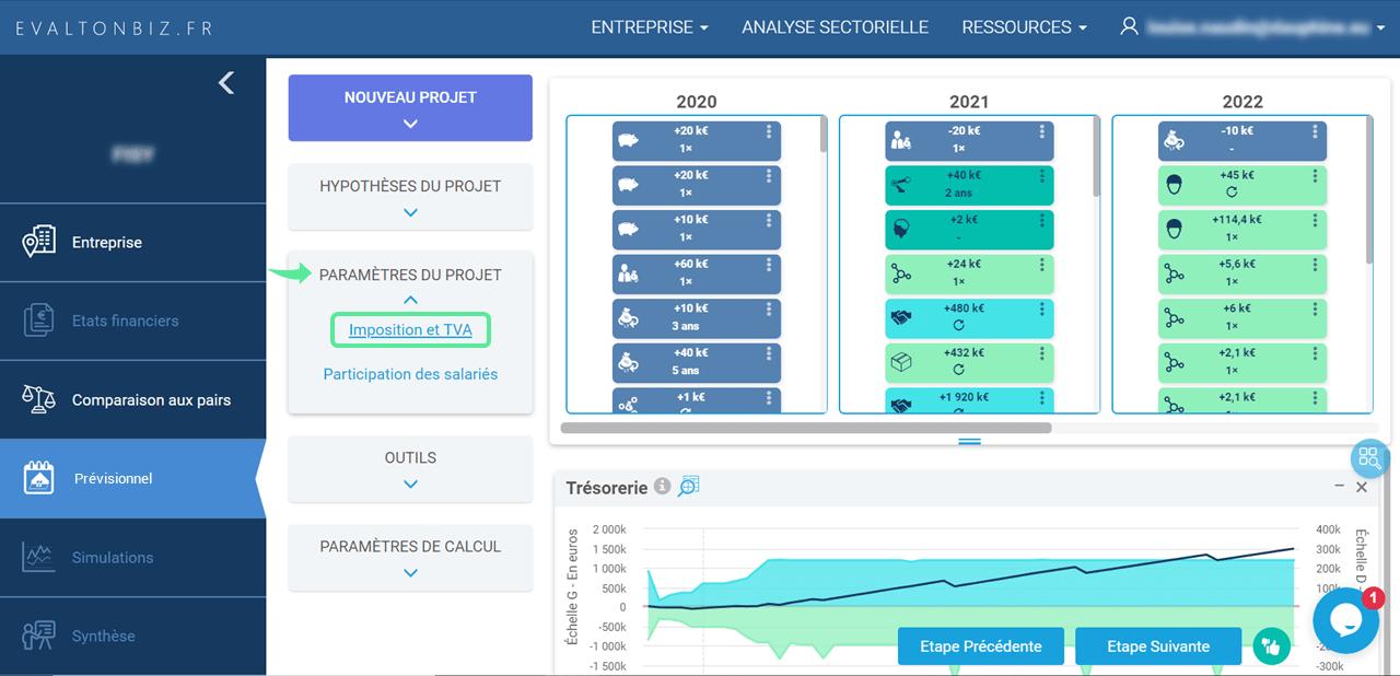 interface prévisionnel accès imposition et TVA